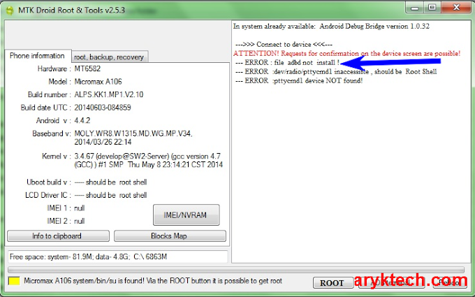 "SOLVED: Solution to ""adbd not install"" Error of MTK Droid Tools"