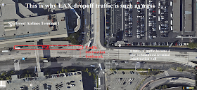 satellite image showing Southwest construction wall causing traffic problems