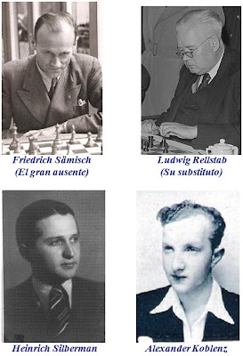 Friedrich Sämisch, Ludwig Rellstab, Heinrich Silberman y Alexander Koblenz
