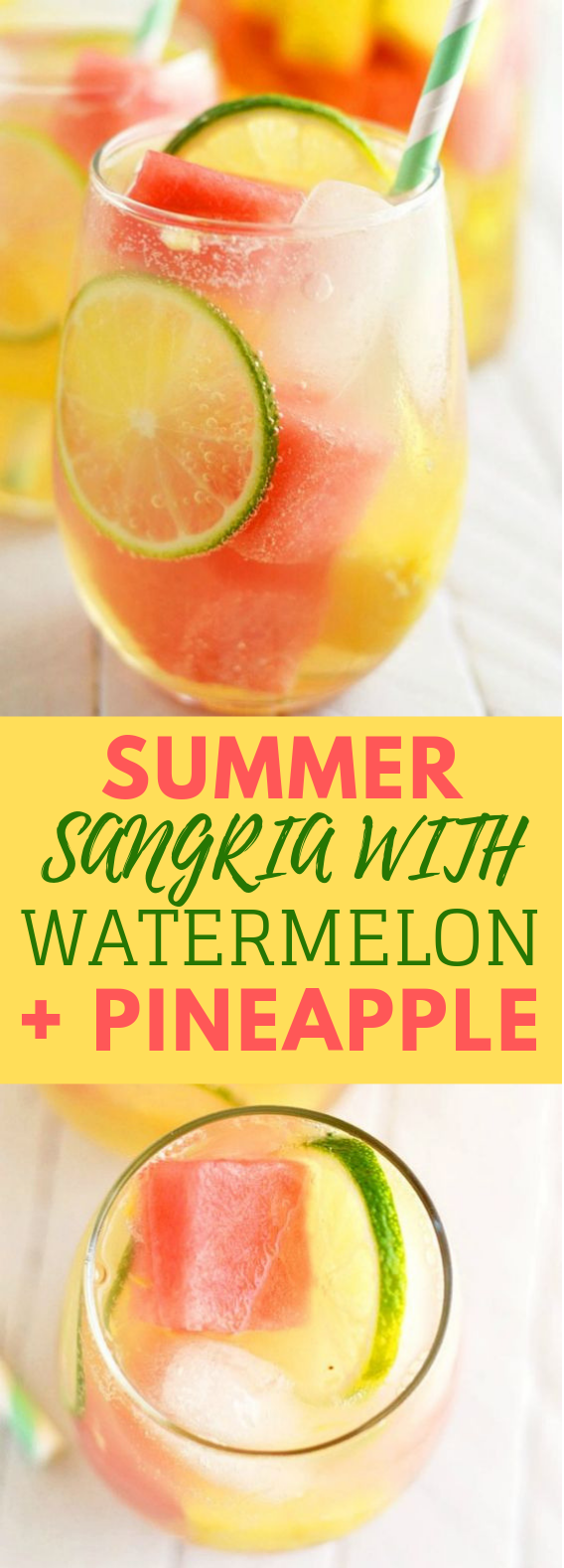 Summer Sangria with Watermelon and Pineapple #Summer #Drink