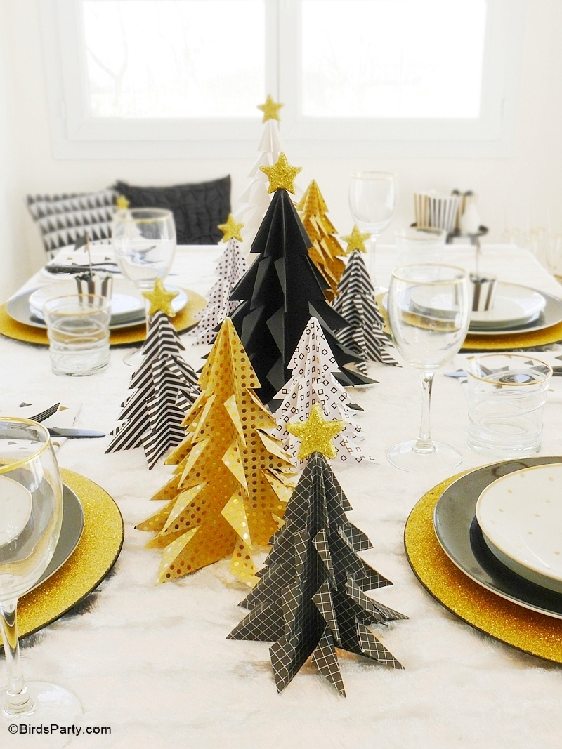 My black gold christmas party tablescape party ideas for Deco de table noel