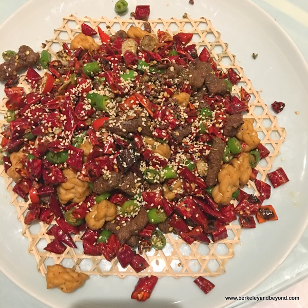 hot pepper dish at Qin Shan Zhai Restaurant in Chengdu, China