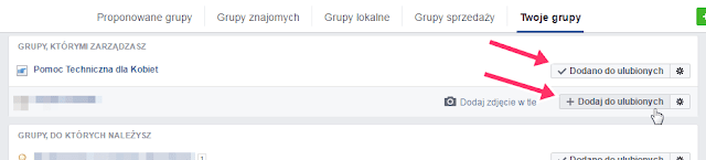jak dodać grupę do ulubionych facebook