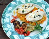 Greek Feta Chicken with Curried Rice