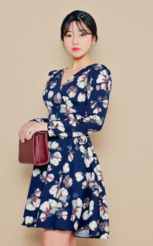 Surplice Neck Floral Dress