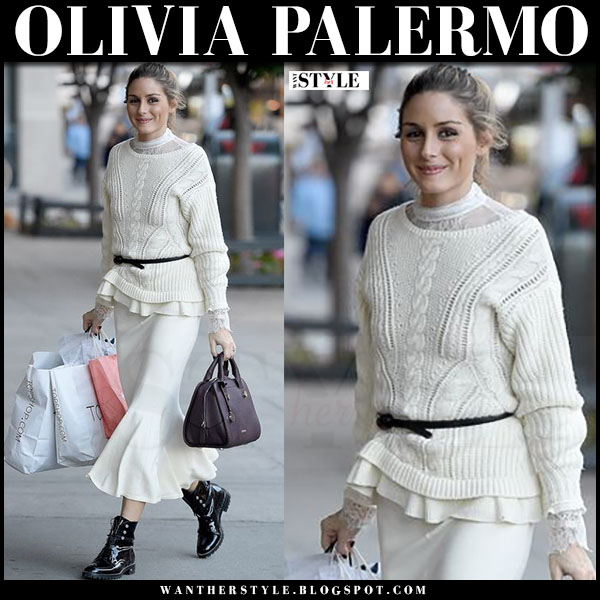 Olivia Palermo in white knit top, white midi skirt and black patent army boots dior rebelle what she wore street style