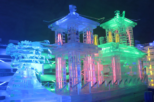 Ice Sculpture and Colorful Lightings at Hwacheon