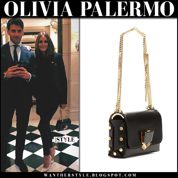 Olivia Palermo with black and gold chain strap bag jimmy choo lockett petite johannes huebl november 13 2017