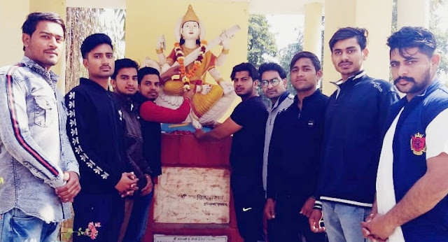 Akhil Bharatiya Vidyarthi Parishad workers celebrate Mother Saraswati in Faridabad