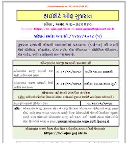 High Court of Gujarat Recruitment for 1149 Hamal, Chowkidar & Other Posts 2018 (HC OJAS)