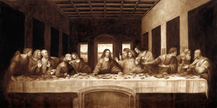 07-Leonardo-da-Vinci-The-Last-Supper-Karen-Eland-Coffee-and-Water-Recreate-Famous-Paintings-with-a-Difference-www-designstack-co