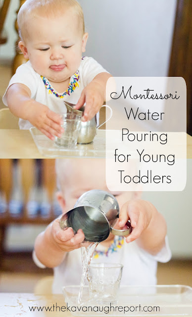 Montessori work for 13 months, Montessori toddler pouring, Montessori baby