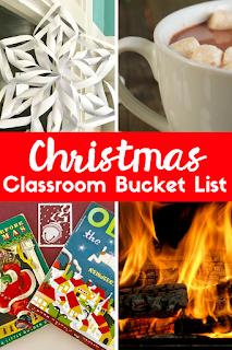 A fun Christmas classroom bucket list with activities you can do with your students. From Christmas books to Christmas movies, hot chocolate to a snowflake project, Christmas classics and other activities, this list has everything you need to celebrate Christmas in your classroom!