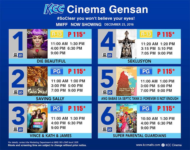 MMFF 2016 entries now showing in cinemas in Koronadal, GenSan