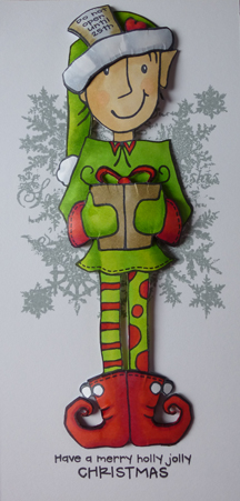 Jolly Holly Elf Card using Woodware Stamps