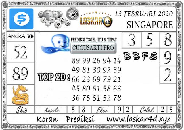 Prediksi Togel SINGAPORE LASKAR4D 13 FEBRUARI 2020