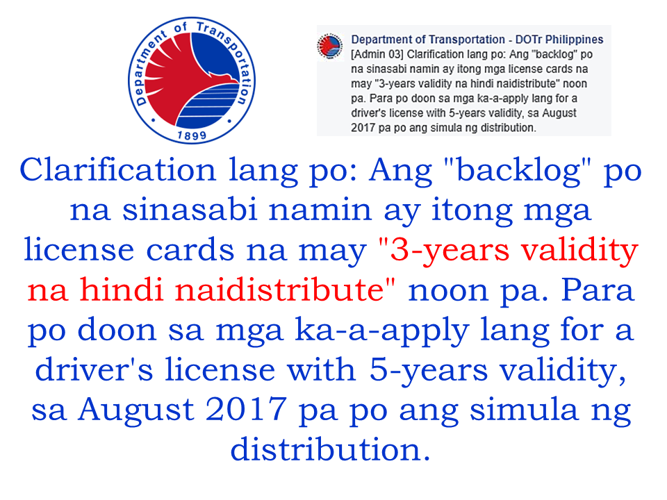 The Department Of Transportation (DOTr) said that the 3 million backlog on the license card is already over and the issuance was completed on February. DoTr said that since December last year, they started the distribution of the license cards. Today, DOTr is very happy to announce that their target of completing the 3 million license card backlog is finally met. However the issued drivers license is only for those with 3 years validity. The license cards with extended validity of 5 years will be hopefully released by August this year.  The DOTr clarified it on their social media post.  Read More:      ©2017 THOUGHTSKOTO