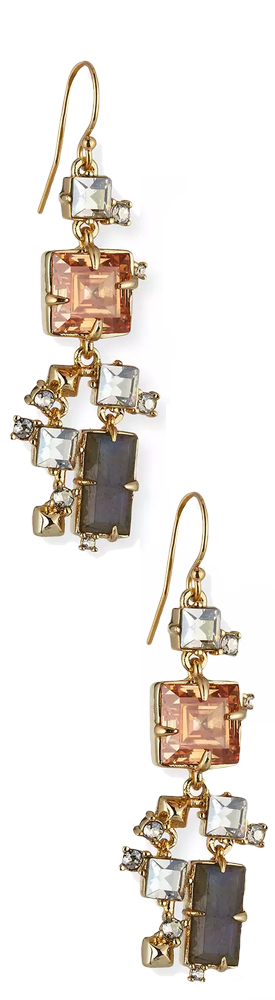 Alexis Bittar Prong-Set Square Crystal Dangle Earrings