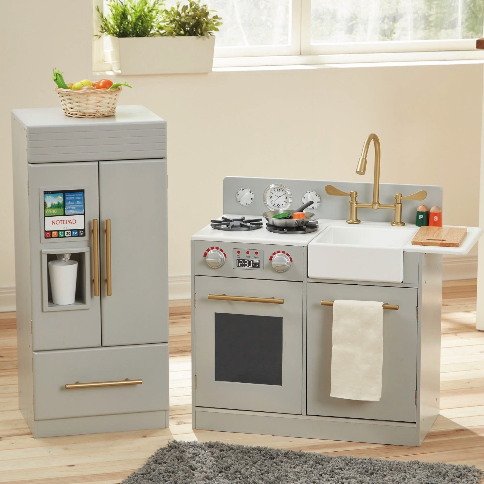 look for less modern grey toy kitchen  pretty real - teamson urban adventure kitchen  (on sale from )