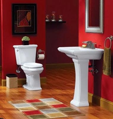 cuarto de baño rojo