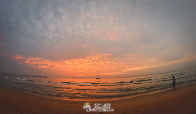Unusual sunrise at Club Med Cherating Beach