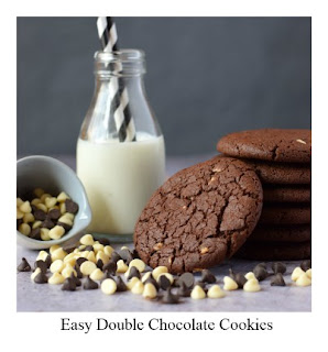 This easy chocolate cookie recipe produces a generous sized cookie.  It is packed with yummy chocolate and is both deliciously rich and satisfying.