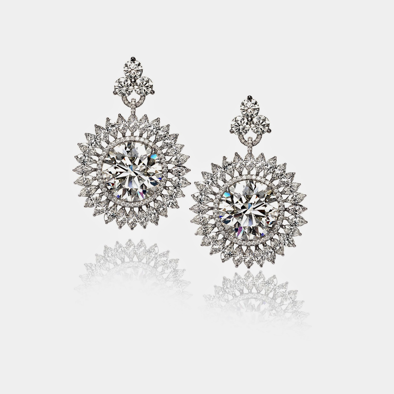 Diamond Drop Earrings By Slane With 9 24 Round Brilliant Exceptional And 8 14 Set In Platinum