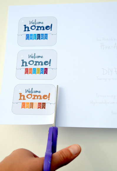Cut out the printed cards and secure with some ribbon