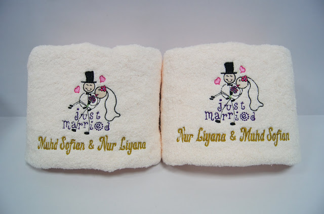 Wedding theme design printed on 2 beige bath towel
