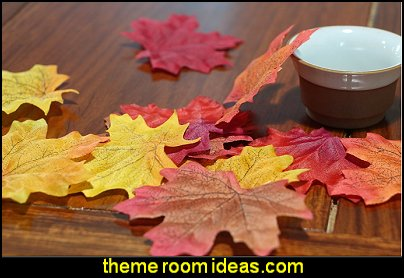 Artificial Fall Maple Leaves in a Mixture of Autumn Colors - Great Autumn Table Scatters for Fall Weddings & Autumn Parties