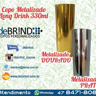 COPO METALIZADO - PRATA - DOURADO - LONG DRINK - 2016 - 2017