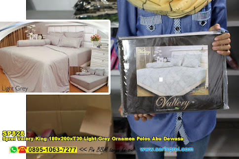 Sprei Valery King 180x200xT30 Light Grey Ornamen Polos Abu Dewasa