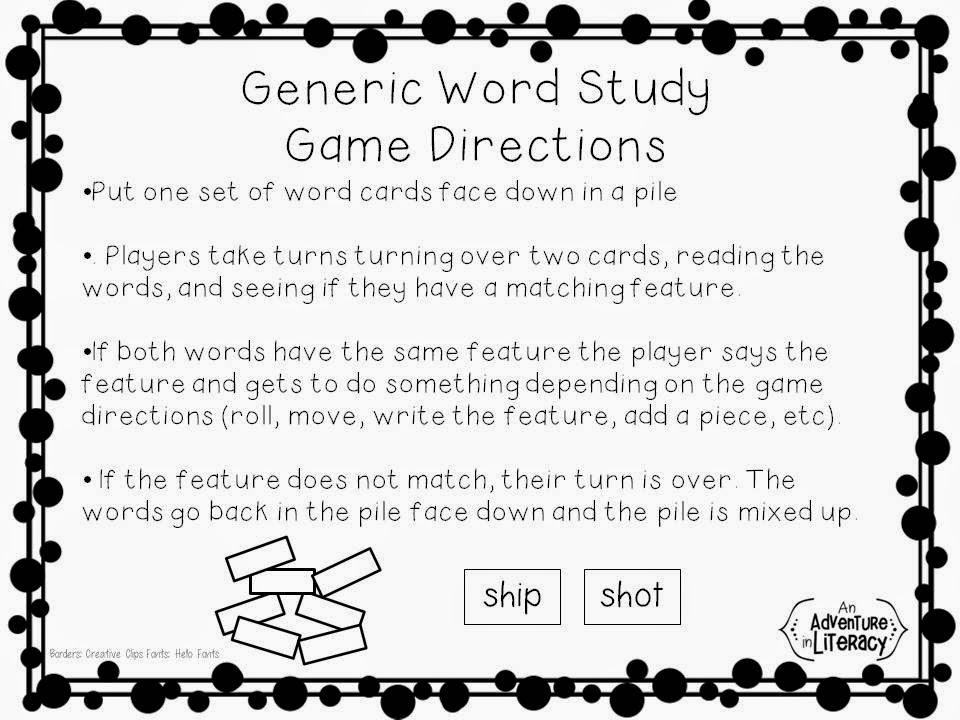 Easy prep word study games adventures in literacy land now on to the fun part here are a few variations using the basic game directions and student word cards publicscrutiny Choice Image