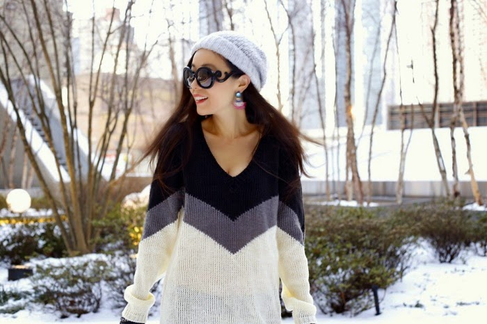 River Island Beanie, Prada sunglasses, Baublebar Cha cha drop, ysl lipstick, jcrew plaid scarf, tobi good kisser sweater dress, 7fam jeans, original hunter tall boots, hunter boots, celine edge bag, fashion blog, snowday outfit, nyc, shallwesasa