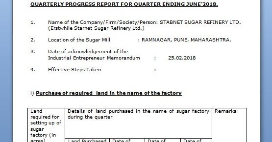 quarterly progress report format of a private company in word