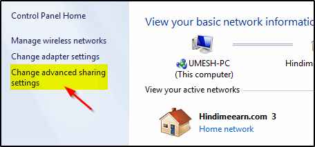 Advanced sharing settings