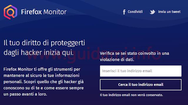 Firefox Monitor inserisci indirizzo email da verificare
