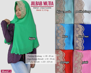 Jilbab cutting plus renda model baru - mutia motif 1