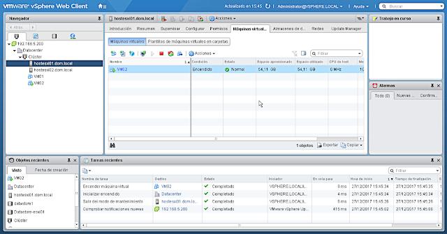 VMware 6.5.0 PowerCLI: Reiniciar servidor host - Visión del entorno.