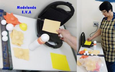 Aquecendo e modelando placa de EVA