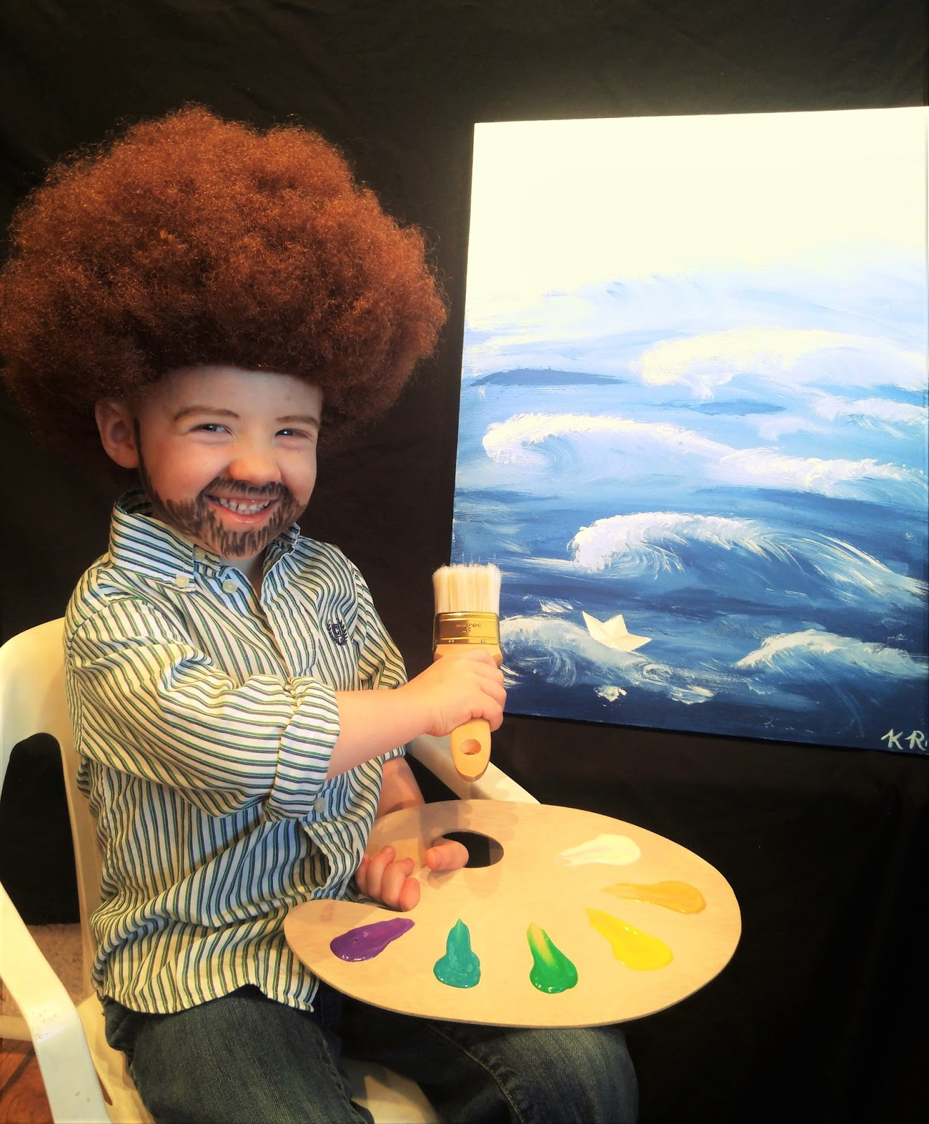 it was during this time that he overheard annie and i planning her poppy costume and he requested to be bob ross