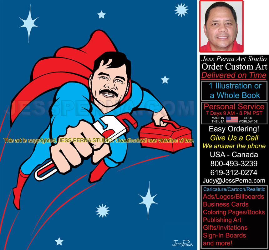 Plumber Superhero Truck Wrap | Superhero Artist Cartoon Illustrator ...