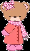 Ursa filhote com roupa de frio