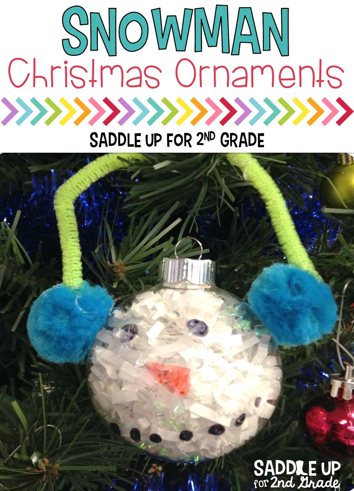 These snowman Christmas ornaments are a classroom favorite! They are perfect for little learners and super easy to make. Your child will love making these. Visit this blog post to see how!