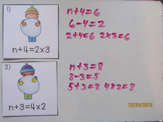 PreAlgebra Balancing Number Equations Snowballs Task Cards and Game