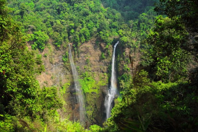 Tade Fane Waterfall in its green surroundings, Laos