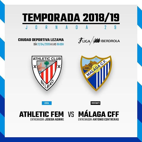 Athletic Femenino - Málaga Femenino, hoy a las 18:00 horas en Lezama