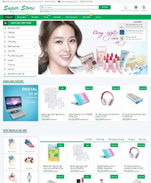 Mẫu blogspot bán hàng Super Store