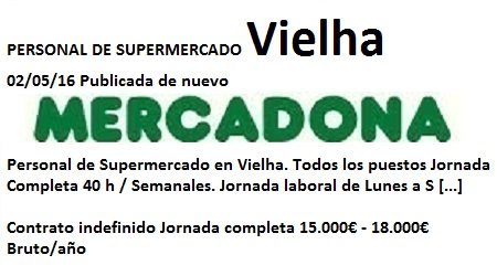 Lanzadera de Empleo Virtual en Lleida, Ofertas Mercadona Vielha