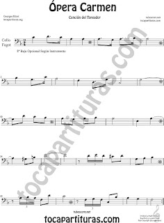 Violonchelo y Fagot Partitura de Ópera Carmen de Georges Bizet  Sheet Music for Cello and Bassoon Music Scores
